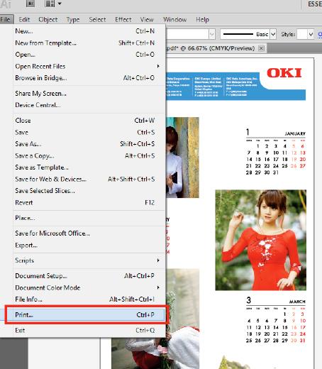 Sau khi hoàn tất file thiết kế với các hình ảnh đã nằm vào vị trí mong muốn của bạn trên tờ lịch, bạn hãy nhấn in bằng cách chọn File --> Print
