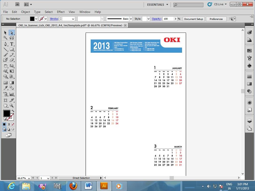 Mở file lịch có sẵn bằng phần mềm Adobe Illustrator