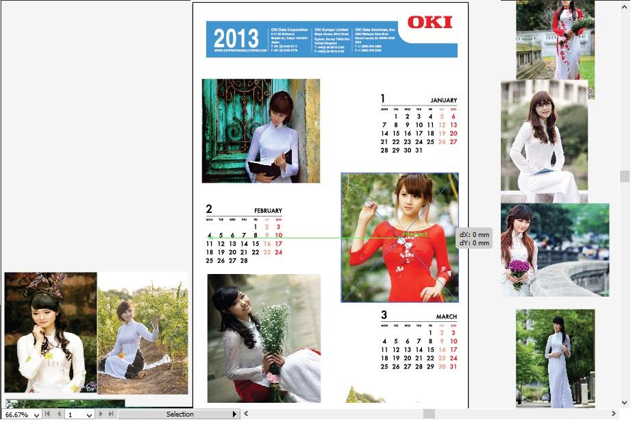 Sau khi chọn xong hình ảnh, bạn kéo chọn hình đưa vào lịch tùy theo ý thích của bạn